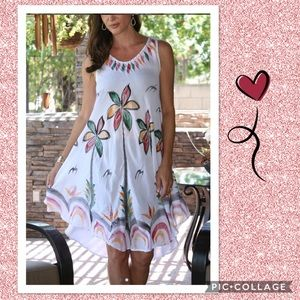 (J) White Floral Swim Cover Up Beach Dress
